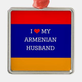 I Love My Armenian Husband Silver-Colored Square Ornament