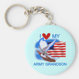 I Love My Army Grandson Tshirts and Gifts Basic Round Button Keychain