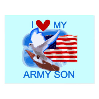 I Love My Army Son Tshirts and Gifts Postcards