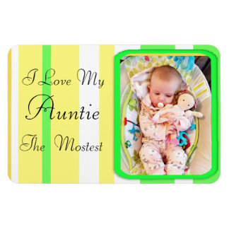 I Love my Aunt Lime Green  Personalized Magnet