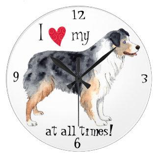 I Love my Australian Shepherd Large Clock
