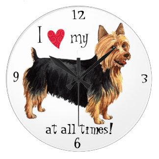I Love my Australian Terrier Large Clock
