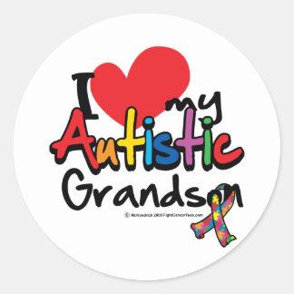I Love My Autistic Grandson Round Sticker