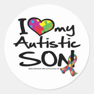 I Love My Autistic Son Round Sticker