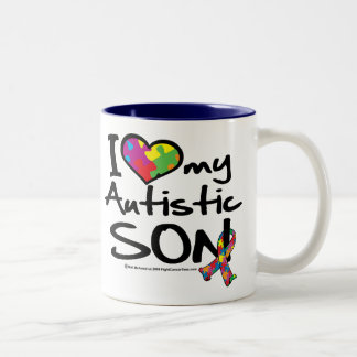 I Love My Autistic Son Two-Tone Coffee Mug
