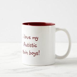 I love my Autistic twin boys! Two-Tone Coffee Mug