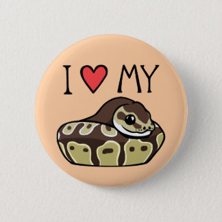"""""""I Love My Ball Python"""" Cute Snake Drawing Button"""