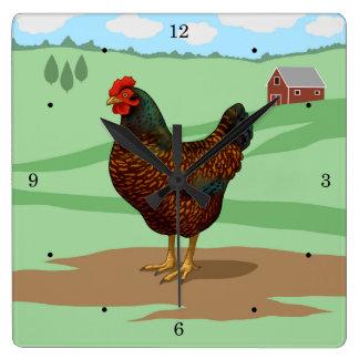 I Love My Barnevelder Chickens Square Wall Clock