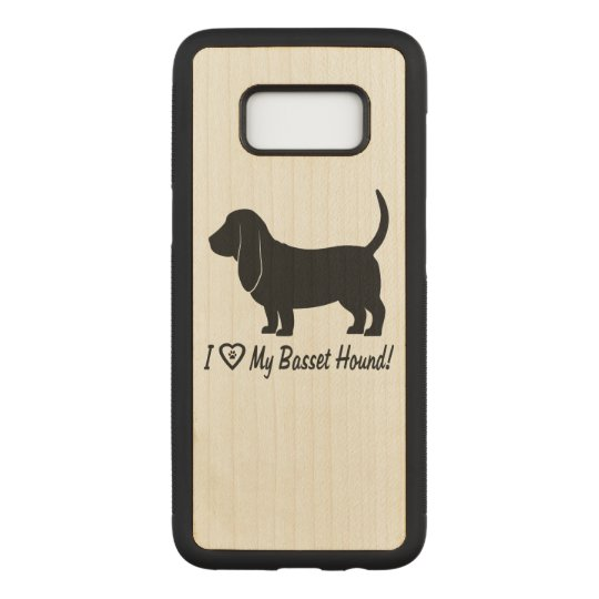 I Love My Basset Hound with Paw Prints Carved Samsung Galaxy S8 Case