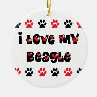 I Love My Beagle Ceramic Ornament
