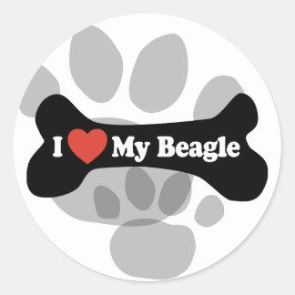 I Love My Beagle - Dog Bone Classic Round Sticker