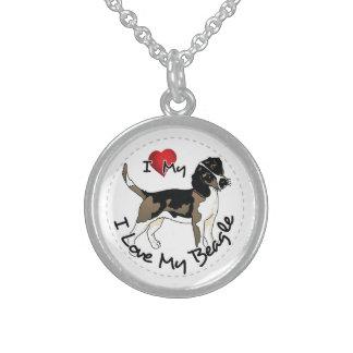 I Love My Beagle Dog Sterling Silver Necklace
