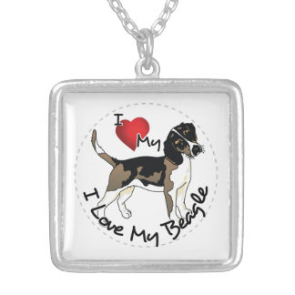 I Love My Beagle Silver Plated Necklace