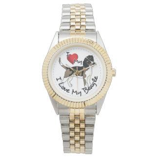 I Love My Beagle Wrist Watches