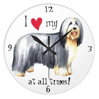 I Love my Bearded Collie Large Clock