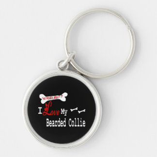 I Love My Bearded Collie Silver-Colored Round Keychain
