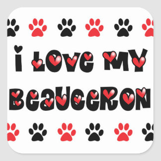 I Love My Beauceron Square Sticker