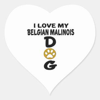 I Love My Belgian Malinois Dog Designs Heart Sticker
