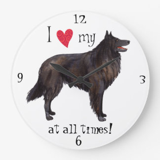 I Love my Belgian Sheepdog Wallclocks