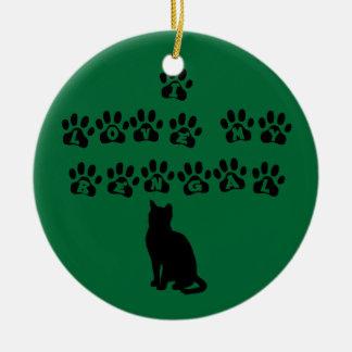 I Love My Bengal--Black Text Round Ceramic Ornament
