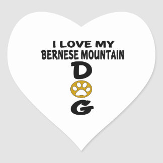 I Love My Bernese Mountain Dog Dog Designs Heart Sticker
