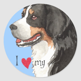 I Love my Bernese Mountain Dog Round Sticker