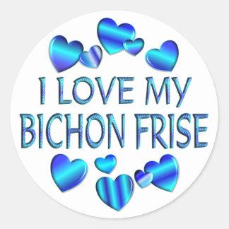 I Love My Bichon Frise Round Sticker