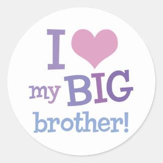 I Love My Big Brother Round Sticker