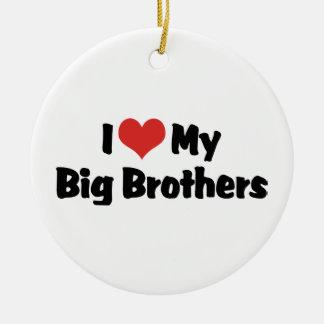 I Love My Big Brothers Round Ceramic Ornament