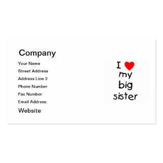 I Love My Big Sister Business Card Template