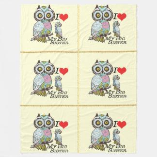 I-Love-My-Big Sister Owl Fleece Blanket