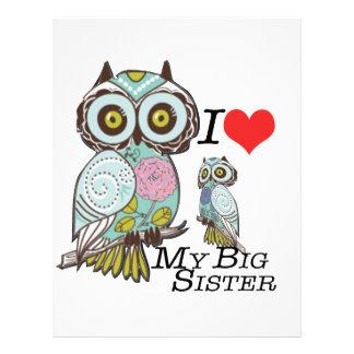 I-Love my-big Sister Owls  Multiple Product Select Custom Letterhead