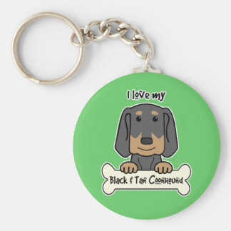 I Love My Black and Tan Coonhound Keychain