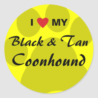 I Love My Black and Tan Coonhound Round Sticker