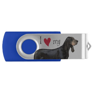 I Love my Black and Tan Coonhound Swivel USB 3.0 Flash Drive