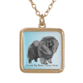 I Love My Black Chow Chow Gold Plated Necklace