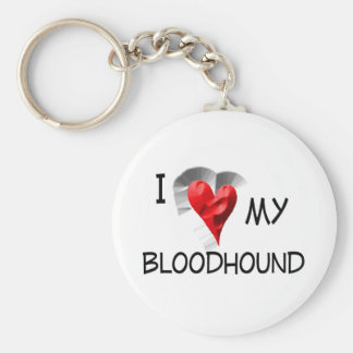 I Love My Bloodhound Keychain