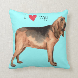 I Love my Bloodhound Throw Pillow