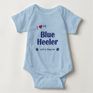 I Love My Blue Heeler (Male Dog) Baby Bodysuit