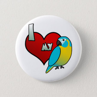 I Love my Blue Throated Macaw 2 Inch Round Button
