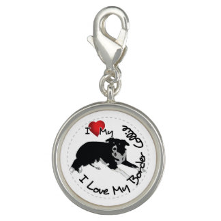 I Love My Border Collie Dog Charms