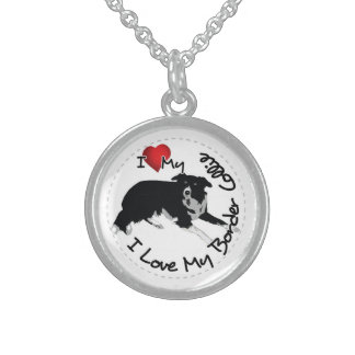 I Love My Border Collie Dog Sterling Silver Necklace
