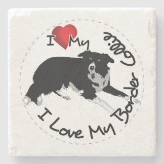 I Love My Border Collie Dog Stone Coaster