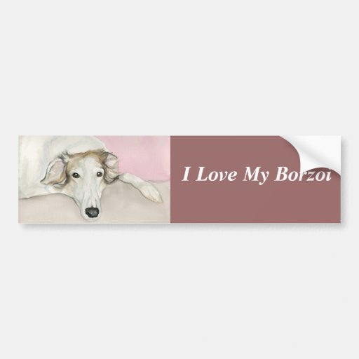 I Love My Borzoi Dog Art Bumper Sticker