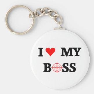 I Love My Boss Basic Round Button Keychain