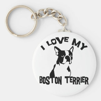 I Love My Boston Terrier Keychain
