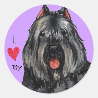 I Love my Bouvier Round Sticker