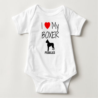 I Love My Boxer Dog Baby Bodysuit