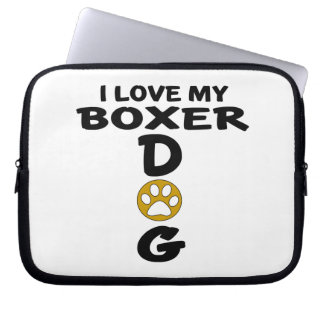 I Love My Boxer Dog Designs Laptop Computer Sleeves