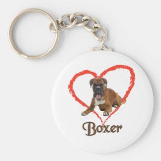 I Love My Boxer Dog Keychain